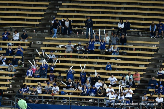 Great Los Angeles Dodgers fans stand against the Colorado Rockies Wednesday, June 8, 2016 at Dodger Stadium in Los Angeles,California. Photo by Jon SooHoo/© Los Angeles Dodgers,LLC 2016