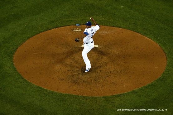 Los Angeles Dodgers Pedro Baez pitches against the Colorado Rockies Wednesday, June 8, 2016 at Dodger Stadium in Los Angeles,California. Photo by Jon SooHoo/© Los Angeles Dodgers,LLC 2016