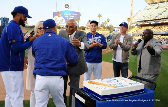 Dodger legend Don Newcombe, who celebrates his 90th birthday on June 14 of this year, is honored before the game.