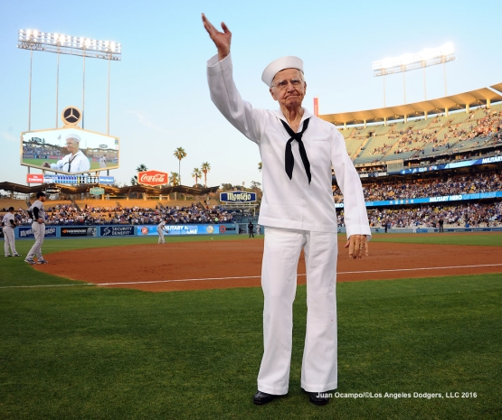 The Dodgers pay tribute to U.S. Navy Radioman, Second Class, and World War II veteran Bernard Baima during the game.