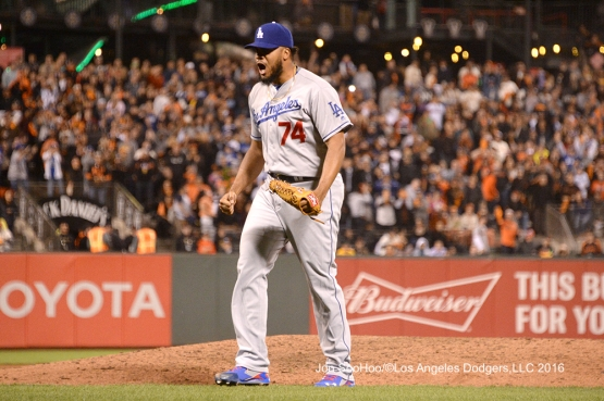 Los Angeles Dodgers Kenley Jansen pitches against the San Francisco Giants Friday, June 10, 2016 at AT&T Park in San Francisco, California. Photo by Jon SooHoo/© Los Angeles Dodgers,LLC 2016