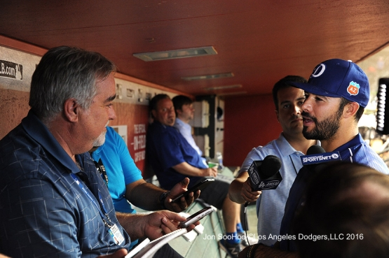 Andre Ethier talks to the media prior to game against the Arizona Diamondbacks Monday, June 13, 2016 at Chase Field in Phoenix, Arizona. Photo by Jon SooHoo/© Los Angeles Dodgers,LLC 2016