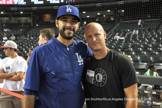 Andre Ethier poses with former Dodger Mark Ellis prior to game against the Arizona Diamondbacks Monday, June 13, 2016 at Chase Field in Phoenix, Arizona. Photo by Jon SooHoo/© Los Angeles Dodgers,LLC 2016