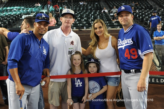 Juan Castro and Tim Hyer pose with guests prior to game against the Arizona Diamondbacks Monday, June 13, 2016 at Chase Field in Phoenix, Arizona. Photo by Jon SooHoo/© Los Angeles Dodgers,LLC 2016