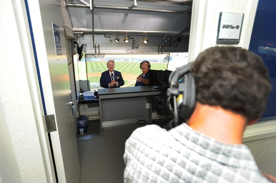 Vin Scully tapes pregame opener prior to game against the Milwaukee Brewers Thursday, June 16, 2016 at Dodger Stadium. Photo by Jon SooHoo