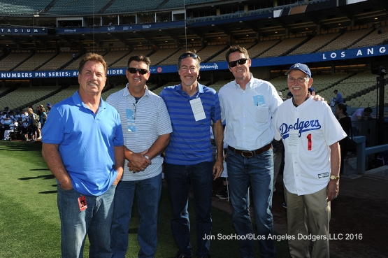 Great Los Angeles Dodger fans pose prior to game against the Milwaukee Brewers Thursday, June 16, 2016 at Dodger Stadium. Photo by Jon SooHoo