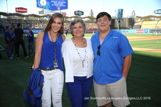 The Patton family poses prior to game against the Milwaukee Brewers Thursday, June 16, 2016 at Dodger Stadium. Photo by Jon SooHoo