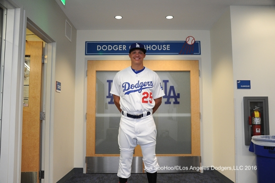 Will Venable poses prior to game against the Milwaukee Brewers Thursday, June 16, 2016 at Dodger Stadium. Photo by Jon SooHoo