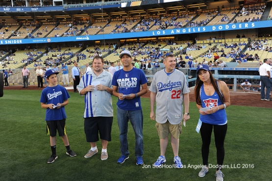 Dodger Awards fans compete prior to game against the Milwaukee Brewers Thursday, June 16, 2016 at Dodger Stadium. Photo by Jon SooHoo