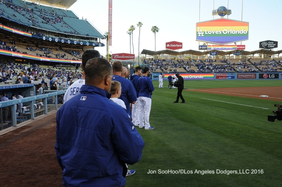 The Dodgers honor Orlando prior to game against the Milwaukee Brewers Thursday, June 16, 2016 at Dodger Stadium. Photo by Jon SooHoo