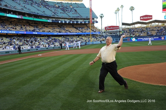 Kurt Snider throws out the first pitch prior to game against the Milwaukee Brewers Thursday, June 16, 2016 at Dodger Stadium. Photo by Jon SooHoo