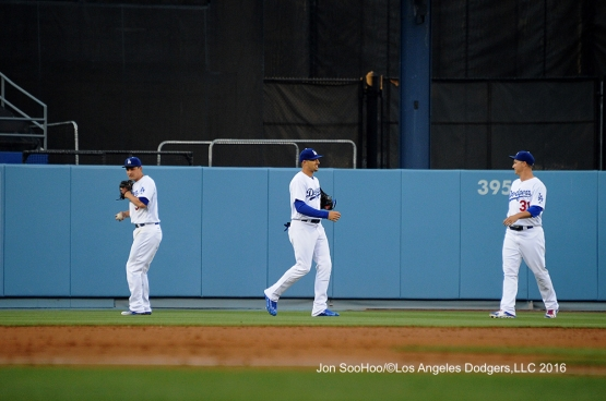 Corey Seager, Trayce Thompson and Joc Pederson during game against the Milwaukee Brewers Thursday, June 16, 2016 at Dodger Stadium. Photo by Jon SooHoo