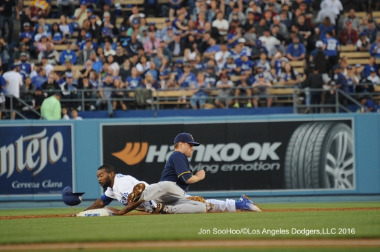 Howie Kendrick during game against the Milwaukee Brewers Thursday, June 16, 2016 at Dodger Stadium. Photo by Jon SooHoo
