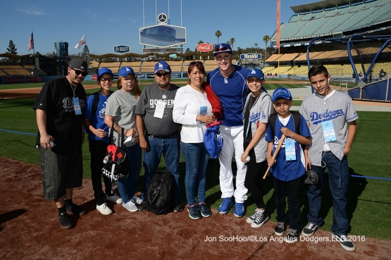 Guests of Chase Utley prior to game against the Milwaukee Brewers Friday, June 17, 2016 at Dodger Stadium. Photo by Jon SooHoo