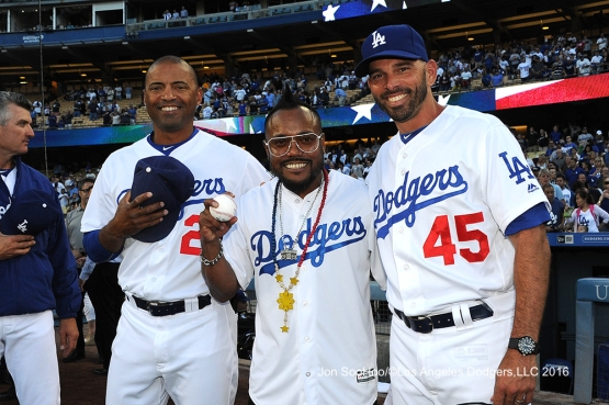 APL.DE.AP with coaches Lombard and Woodward pose prior to Los Angeles Dodgers game against the Milwaukee Brewers Friday, June 17, 2016 at Dodger Stadium. Photo by Jon SooHoo