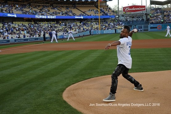 APL.DE.AP throw out first pitch prior to Los Angeles Dodgers game against the Milwaukee Brewers Friday, June 17, 2016 at Dodger Stadium. Photo by Jon SooHoo