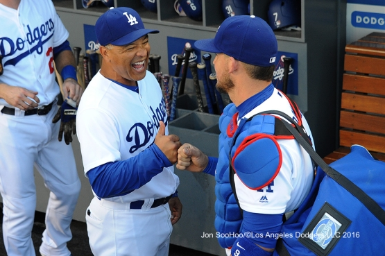 Dave Roberts and Yasmani Grandal prior to game against the Milwaukee Brewers Friday, June 17, 2016 at Dodger Stadium. Photo by Jon SooHoo