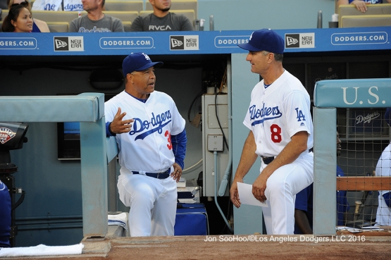 Dave Roberts and Bob Geren before  game against the Milwaukee Brewers Friday, June 17, 2016 at Dodger Stadium. Photo by Jon SooHoo