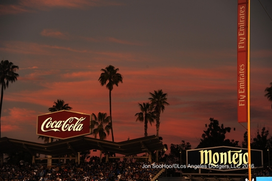 Sunset  during Los Angeles Dodgers game against the Milwaukee Brewers Friday, June 17, 2016 at Dodger Stadium. Photo by Jon SooHoo