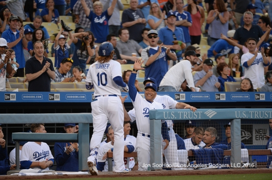 Justin Turner homers during game against the Milwaukee Brewers Friday, June 17, 2016 at Dodger Stadium. Photo by Jon SooHoo