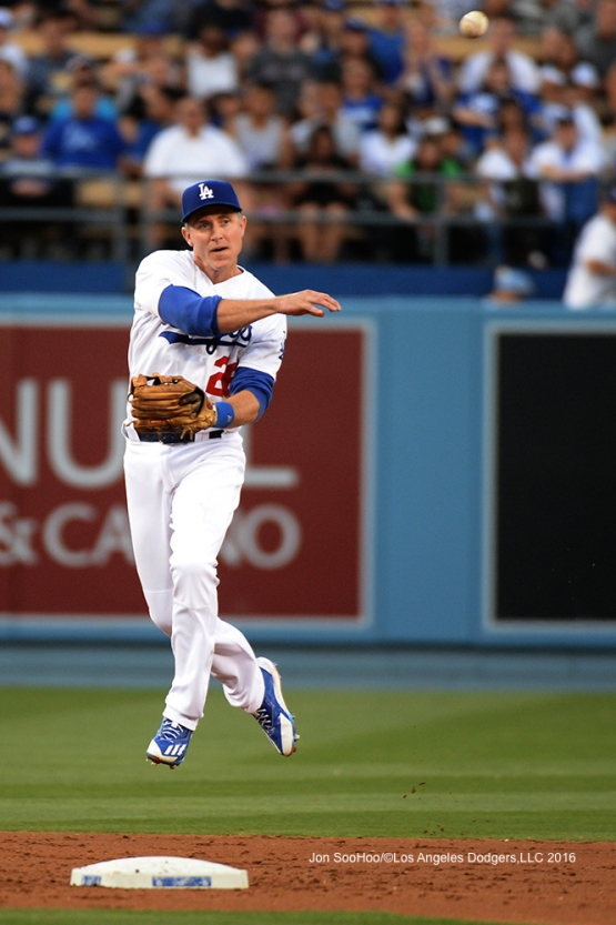 Chase Utley makes play against the Milwaukee Brewers Friday, June 17, 2016 at Dodger Stadium. Photo by Jon SooHoo