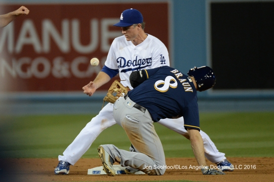 Chase Utley and Ryan Braun at second base during game against the Milwaukee Brewers Friday, June 17, 2016 at Dodger Stadium. Photo by Jon SooHoo