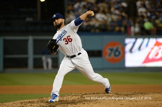 Los Angeles Dodgers Adam Liberatore during game against the Milwaukee Brewers Friday, June 17, 2016 at Dodger Stadium. Photo by Jon SooHoo