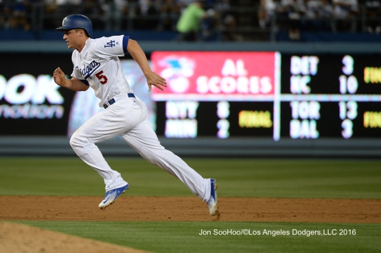 Los Angeles Dodgers Corey Seager takes third during game against the Milwaukee Brewers Friday, June 17, 2016 at Dodger Stadium. Photo by Jon SooHoo