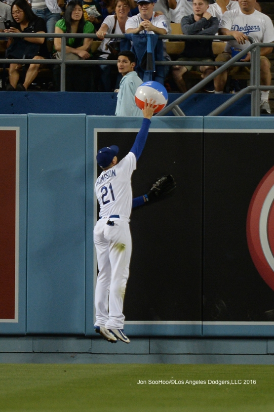 Los Angeles Dodgers Trayce Thompson dunks the ball during game against the Milwaukee Brewers Friday, June 17, 2016 at Dodger Stadium. Photo by Jon SooHoo