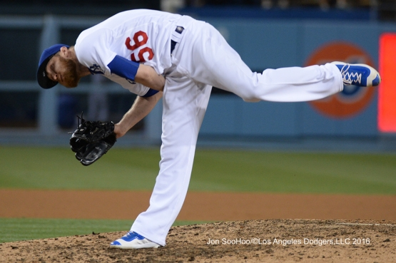 Los Angeles Dodgers J.P.Howell pitches during game against the Milwaukee Brewers Friday, June 17, 2016 at Dodger Stadium. Photo by Jon SooHoo