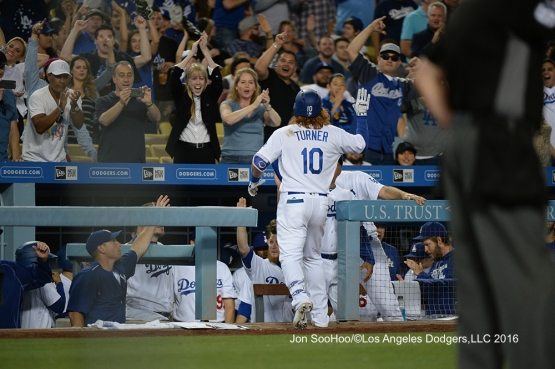 Los Angeles Dodgers Justin Turner hits second homer during game against the Milwaukee Brewers Friday, June 17, 2016 at Dodger Stadium. Photo by Jon SooHoo