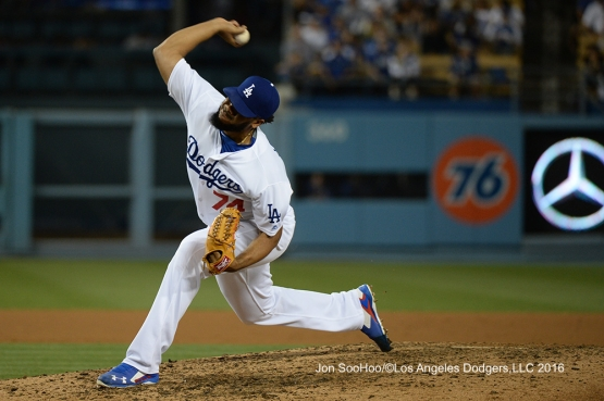 Kenley Jansen during game against the Milwaukee Brewers Friday, June 17, 2016 at Dodger Stadium. Photo by Jon SooHoo