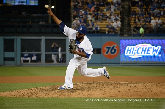 Los Angeles Dodgers Pedro Baez during game against the Milwaukee Brewers Friday, June 17, 2016 at Dodger Stadium. Photo by Jon SooHoo