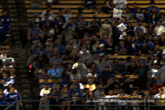 Great Los Angeles Dodger fans during game against the Milwaukee Brewers Friday, June 17, 2016 at Dodger Stadium. Photo by Jon SooHoo