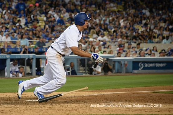 Los Angeles Dodgers Will Venable doubles during game against the Milwaukee Brewers Friday, June 17, 2016 at Dodger Stadium. Photo by Jon SooHoo