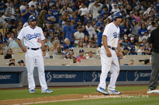 Will Venable (R) at third during game against the Milwaukee Brewers Friday, June 17, 2016 at Dodger Stadium. Photo by Jon SooHoo