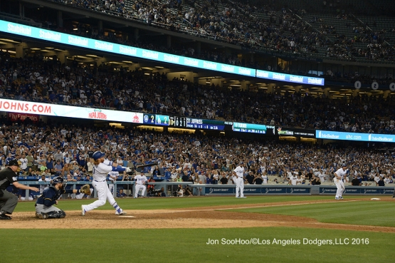 Justin Turner hits walk off single against the Milwaukee Brewers Friday, June 17, 2016 at Dodger Stadium. Photo by Jon SooHoo