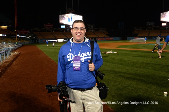 Great Los Angeles Dodger fan after game against the Milwaukee Brewers Friday, June 17, 2016 at Dodger Stadium. Photo by Jon SooHoo