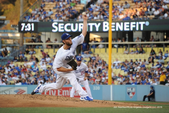 Clayton Kershaw during game against the Washington Nationals Monday, June 20,2016 at Dodger Stadium. Photo by Jon SooHoo/©Los Angeles Dodgers,LLC 2016