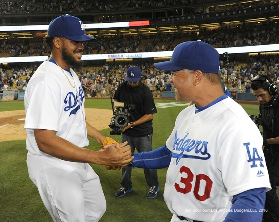 Kenley Jansen and Dave Roberts after win against the Washington Nationals Monday, June 20,2016 at Dodger Stadium. Photo by Jon SooHoo/©Los Angeles Dodgers,LLC 2016