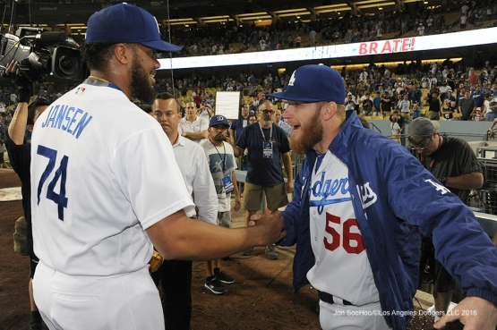 Kenley Jansen and J.P.Howell after win against the Washington Nationals Monday, June 20,2016 at Dodger Stadium. Photo by Jon SooHoo/©Los Angeles Dodgers,LLC 2016