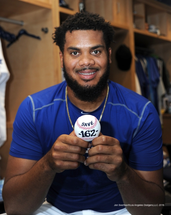 Los Angeles Dodgers Kenley Jansen holds ball of his 162 save after game against the Washington Nationals Monday, June 20,2016 at Dodger Stadium. Photo by Jon SooHoo/©Los Angeles Dodgers,LLC 2016