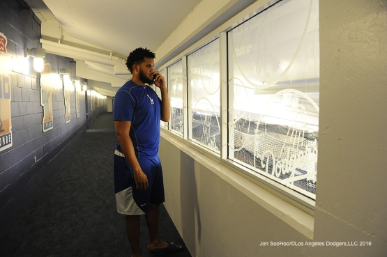 Kenley Jansen after setting the saves record against the Washington Nationals Monday, June 20,2016 at Dodger Stadium. Photo by Jon SooHoo/©Los Angeles Dodgers,LLC 2016