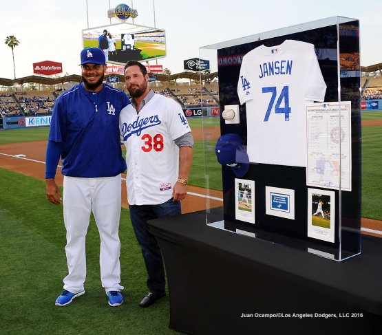 Kenley Jansen is joined by former Dodger Eric Gagne during a pre game ceremony to honor Jansen achieving the all-time Dodgers' saves record.
