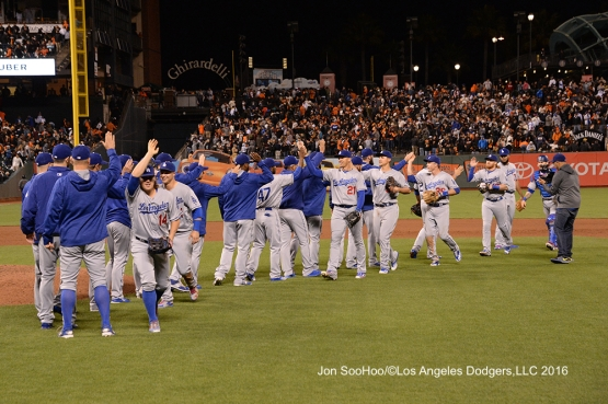 Los Angeles Dodgers win against the San Francisco Giants Friday, June 10, 2016 at AT&T Park in San Francisco, California. Photo by Jon SooHoo/© Los Angeles Dodgers,LLC 2016