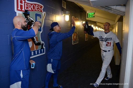 Los Angeles Dodgers Trayce Thompson is greeted by teammates after walk off against the Colorado Rockies Tuesday, June 7, 2016 at Dodger Stadium in Los Angeles,California. Photo by Jon SooHoo/© Los Angeles Dodgers,LLC 2016
