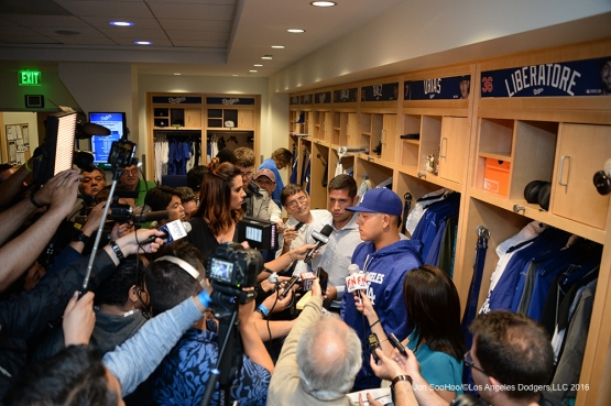 Kenta Maeda talks to the media after game against the Colorado Rockies Tuesday, June 7, 2016 at Dodger Stadium in Los Angeles,California. Photo by Jon SooHoo/© Los Angeles Dodgers,LLC 2016