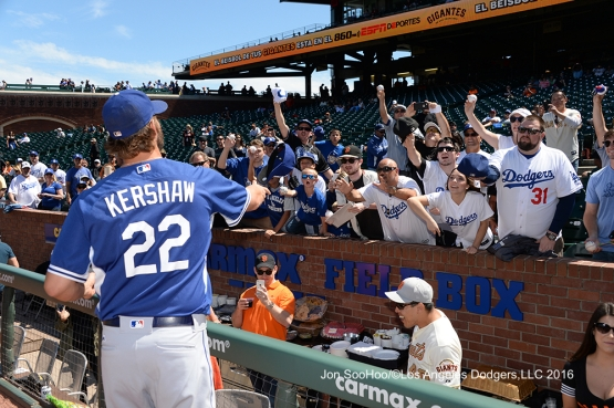 Clayton Kershaw signs for fans prior to game against the San Francisco Giants Saturday, June 11, 2016 at AT&T Park in San Francisco, California. Photo by Jon SooHoo/© Los Angeles Dodgers,LLC 2016