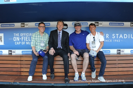 Great Los Angeles Dodger fans pose with Orel Hershiser prior to game against the Milwaukee Brewers Satuday, June 18, 2016 at Dodger Stadium. Photo by Jon SooHoo