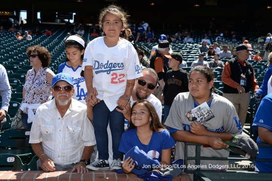 Great Los Angeles Dodger fans prior to game against the San Francisco Giants Saturday, June 11, 2016 at AT&T Park in San Francisco, California. Photo by Jon SooHoo/© Los Angeles Dodgers,LLC 2016